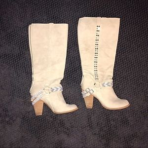 Not rated knee high cream beige slouch cowboy boot